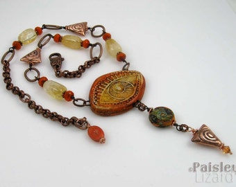 Orange Evil Eye talisman necklace, polymer clay focal on copper beaded chain with citrine nuggets