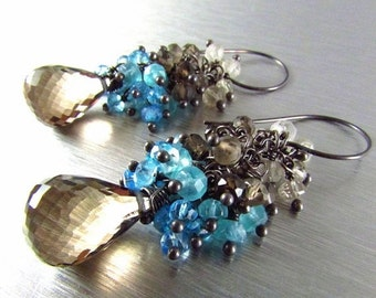 20 % Off Smoky Quartz With Blue Quartz Cluster Oxidized Sterling Silver Earrings