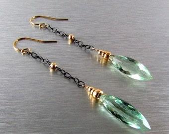 20 % Off Long Green Quartz Mixed Metal Earrings