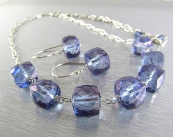 BIGGEST SALE EVER Denim Blue Quartz And Sterling Silver Necklace Earring Set