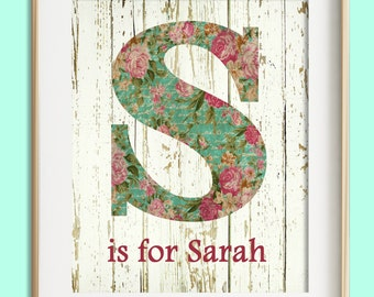 Girls Wall Art, Pink Teal Nursery Decor, Custom Baby Girl Nursery Print, Baby Gift, Girl Nursery Decor, Personalized Baby, New Mom Gift
