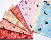 Scrap / Japanese Fabric - Kimono Print 8 pieces / Cats Rabbits Chirp Chirp  (877)