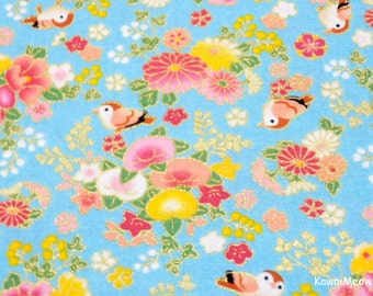 Beautiful Kimono Fabric - Chirp Chirp Sakura on Blue - Fat Quarter (ta160528)