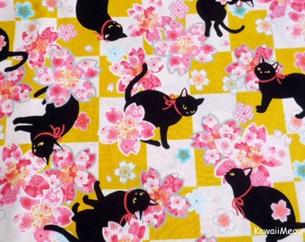 Beautiful Kimono Fabric - Black Cat Sakura on Mustard - Half Yard (i160610)
