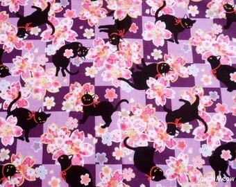 Beautiful Kimono Fabric - Black Cat Sakura on Purple - Fat Quarter (re160610)