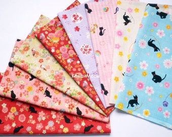 Scrap / Japanese Fabric - Kimono Print 8 pieces / Cats Rabbits Chirp Chirp  (877)