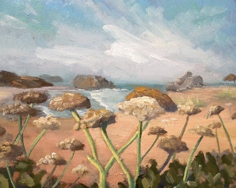 """Impressionist Landscape, Original Oil Painting, Daily Painting, """"Off PCH"""" by CarolSchiffStudio 11x14x1.5"""""""