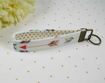 Key Fob Wristlet, Fabric Key Chain, Wrist Key Chain, Key Wristlet ..Arrows in Metallic Gold, Coral and Mint