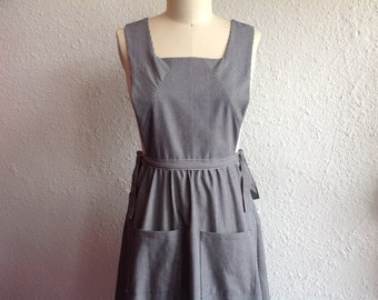 Pollyanna striped denim pinafore Sz M/L