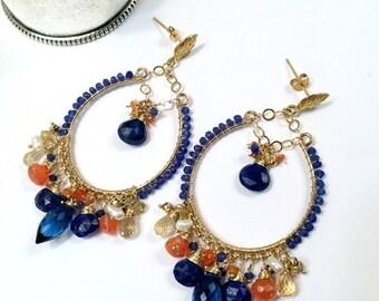 25% SALE Blue Hoop Earring Gold Hoop Earring Blue Gemstone Chandelier Hoop Earring Colorful Statement Blue Lapis Beaded Boho Chandelier Read