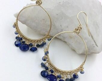 25% SALE Blue Gemstone Hoop Earrings Kyanite Blue Lapis Beaded Gold Filled Hoop Earring Wire Wrap Blue Gemstone Gold Hoops Handmade Luxury F