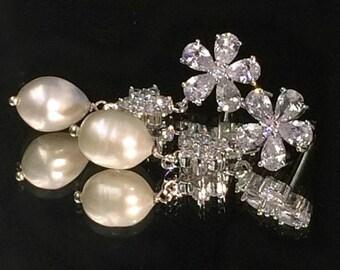 20% SALE Bridal Jewelry Wedding Earrings Pearl Dangle Earrings Diamond Look Wire Wrapped Pearl CZ Post Dangle Earrings Gala Night Red Carpet