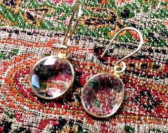 50% OFF SALE Clear Crystal Dangle Earrings Gold Bezel Set Clear Quartz Gemstone Drop Earrings Simple Everyday Clear Quartz Earrings Gift for