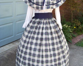 Victorian Civil War Ladies Outfit Long drawstring Skirt and cape Navy, Green, Burgundy and Yellow Plaid with Navy Sash one size fit all