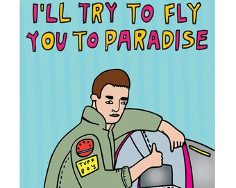 Greeting Card - I'll Try And Fly You To Paradise