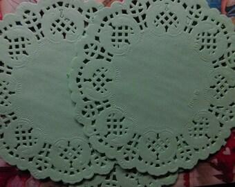 Pale Green Round Paper Lace Doilies - Two Dozen