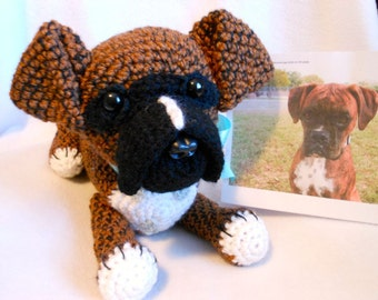 Custom Crochet Dog, Boxer Dog Made to Look Like Owner's Dog, Canine, Stuffed Dog, Stuffed Animal, Pet Memorial, Look Like Pet