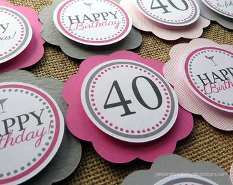 Adult Birthday Party Decorations, 40th Birthday Party Decorations, CUPCAKE TOPPERS, Martini Theme Birthday, You Choose The Colors & Sayings
