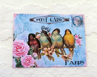Bird Note Cards, Blank Note Cards,French Vintage Post Card, Paris Card,Bridal Shower,High Tea Party,Birthday Cards, Bird Lover,French Birds
