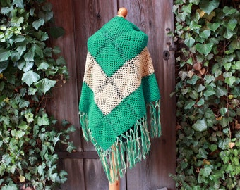 wrap with fringes brown green crochet handmade wool 70s style made to order