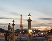 Paris Photography, Sunset in Paris, Place de le Concorde, Eiffel tower, French Decor, Winter in Paris, Rebecca Plotnick, Gold
