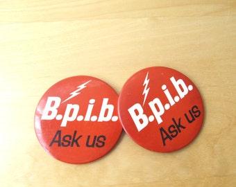 vintage pin back button B P I B electric Ask Us electric lightning bolt