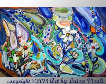 Large Floral Abstract Canvas Blue Green Flowers Summer Leaves Painting Landscape Art by Luiza Vizoli EDEN FLOWERS