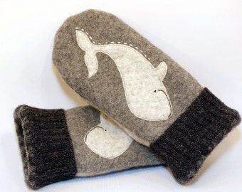 Felt Mittens Whale Recycled Mittens Fleece Lined Mittens Dark and Light Grey Whale Applique Leather Palm Eco Friendly Size M/L