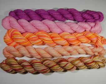 MINIS - Fingering/Sock Weight - Hand Dyed/painted - 96g - set of five