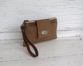 Khaki Tan Waxed Canvas & Leather Smartphone Wallet, iPhone 6 Plus, Wallet, Wristlet, Small Purse, Travel Organizer