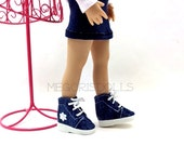"Lace Up Boots for 13"" Little Darling Dolls, Medium Blue Denim"