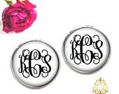 Monogram Earrings - Personalized Stud Earrings- Bridesmaid Jewelry - Monogram Jewelry - White Black  (374)