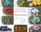 Felt Ball - Felt Bead - Felt Wool Ball 1 inch Bulk - White, Blue, Green, Brown, Pink Felt Ball 2cm - 10