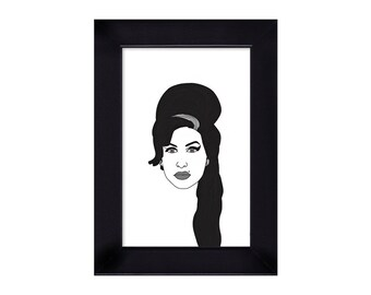 4 x 6 Framed Amy Winehouse portrait