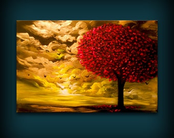 """acrylic art red lollipop tree abstract art acrylic painting abstract wall art painting surreal landscape painting canvas large wall art 36"""""""