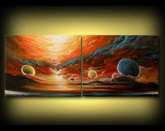 art abstract original painting art original abstract painting surreal painting acrylic painting  56 X 22 X 1.5