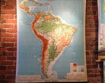 Vintage Pull Down 1942 Pull Down School Map of South America Retractable