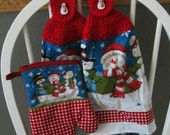 2 Crocheted Christmas Hanging Kitchen Towels with Oven Mitt - Snowman Trio