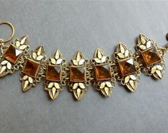 Art Deco Bracelet Enamel Topaz Glass Stones Bohemian Jewelry Statement Bracelet