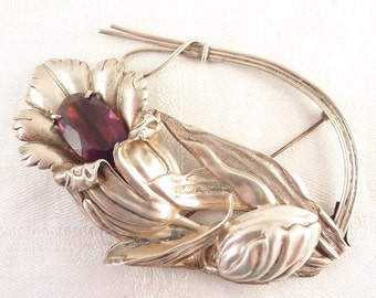 Massive Vintage Sterling Art Nouveau Flower Brooch with Large Glass Amethyst Gem