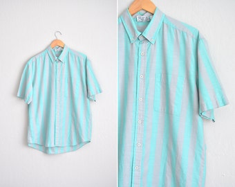 Size L // STRIPED BUTTON-UP Shirt // Seafoam & Grey - Wide Vertical Stripes - Short Sleeve - Preppy Oxford - Vintage '80s Brittania.