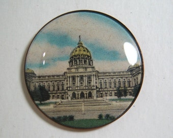 Harry G. Wessel Watch Crystal Button Pennsylvania State Capitol
