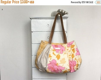 On Sale Large Hobo PINK LEMONADE = pretty pink peony floral golden yellow cream Amy Butler Kate Spain fabric zipper vegan leather  jennjohn