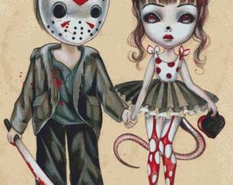 Cross stitch kit, 'Jason', Simona Candini - Needlecraft kit, Halloween, Horror Cross Stitch, Fairy Tale, DMC Materials