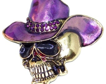 Skull Needle minder, Cross stitch, Cowboy Skull, Embroidery, Purple Cowboy Hat