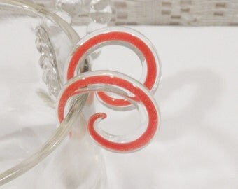 Glass gauges 0g orange and clear glass spiral