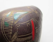 Vintage Authentic Hand Carved / Painted Argentina Yerba Mate-Bocon-Gourd Cup * Symbolism * Handmade * Yerba Mate