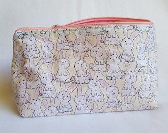 White Bunnies Cosmetic and Toiletries Zipper Bag