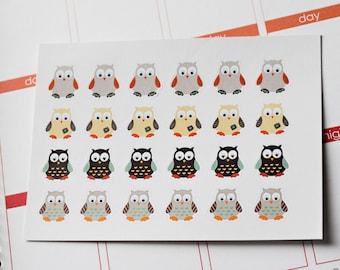 24 Boy Owl Stickers, Shown In An Erin Condren Planner, Stickers, Planner Stickers, Stickers