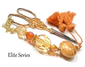 Golden Amber Scissor Fob Beaded Scissor Keeper OOAK Scissor Minder Needlepoint Quilting Accessory Sewing Cross Stitch Craft Supplies